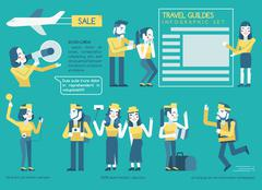 Travel guides Infographics set Piirros