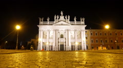 Basilica San Giovanni in Laterano. Night. Rome, Italy - stock footage