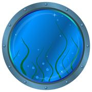 Stock Illustration of Window porthole with seaweed