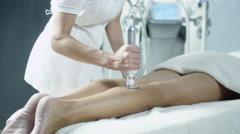 Female Leg Skin Treatment in Spa Salon Stock Footage