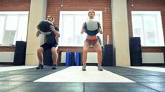Ball Squat Stock Footage