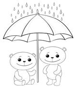 Teddy bears and umbrella, contours - stock illustration