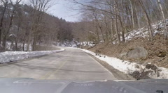 Snowy mountain roadway curvy Stock Footage
