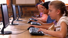 Pupils in computer class at school Stock Footage