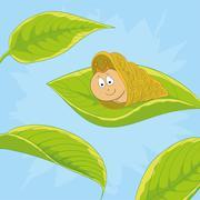 Snail on leave Stock Illustration