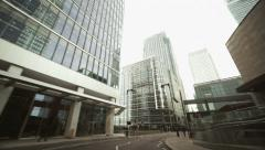 Canary Wharf London skyline view from car Stock Footage