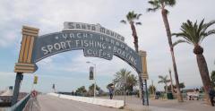 Santa Monica pier sign - stock footage