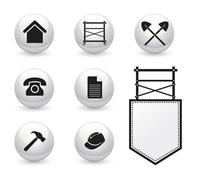 Set of icons for Scaffolding company - stock illustration