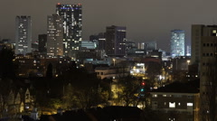 Birmingham, England city centre skyline at night - telephoto. Stock Footage