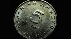 4K national coin currency Greek five drachma rotating front Stock Footage