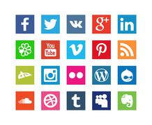 Collection of Style Social Media Icons - stock illustration