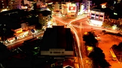 Traffic on Busy Street in Downtown Ho Chi Minh City (Saigon) ay Night -  Vietnam Stock Footage