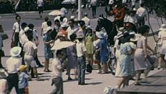 Osaka 1970: people walking in Expo site Stock Footage
