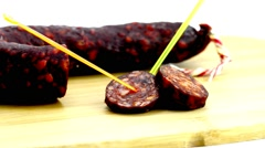 Chorizo, sausage of Spain Stock Footage