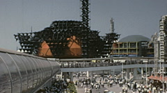 Osaka 1970: people walking in the Expo '70 site Stock Footage