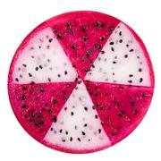 concept radioactive of slice red and white dragon fruit, Pitaya or Cactus is  - stock photo