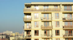 building - high-rise block of flats - sunny - stock footage