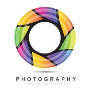 Photography iris aperture logo Stock Illustration