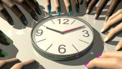 Clock with hands tapping impatiently, 3D animation Stock Footage