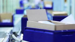 Cardboard boxes are moving on a transporter of a packaging line - stock footage