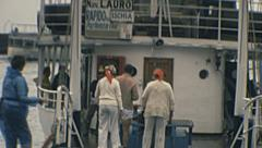 Capri 1977: people taking the boat to Ischia Stock Footage