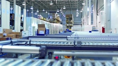 Packaging lines in a warehouse of a modern factory Stock Footage