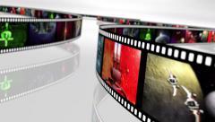 Animated loop-able rotating film reels 4K - stock footage