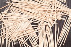 Group of small bamboo toothpicks - stock photo