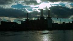 Battersea Power Station backlit 4K WS static Stock Footage