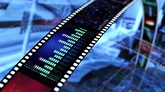 Animated rotating film reels. Black, blue and red 4K Stock Footage