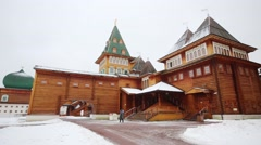 Reconstructed wooden palace of Tsar Alexei Mikhailovich at winter Stock Footage