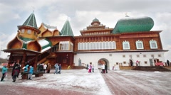 Reconstructed wooden palace of Tsar Alexei Mikhailovich Stock Footage
