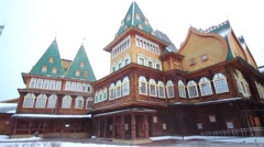 Reconstructed palace of Tsar Alexei Mikhailovich at winter day Stock Footage