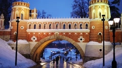 Stock Video Footage of People walks under arch on territory of Catherine Palace