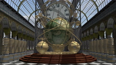 Zoom in to a time machine animated in Steam Punk style 4K Stock Footage