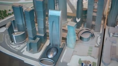 Small model of skyscrapers of Moscow City business complex. Stock Footage
