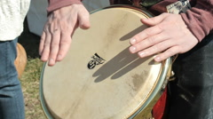 Man Play The Hand Drum. With sound Stock Footage