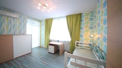 Beautiful modern children bedroom in flat in residential complex Stock Footage