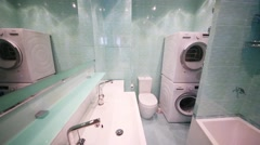 Modern bathroom in flat in residential complex Elk Island. Stock Footage