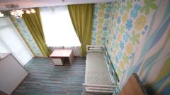 Beautiful green children bedroom in flat in residential complex Stock Footage