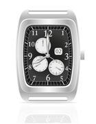 silver mechanical wristwatch vector illustration - stock illustration