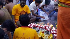 4K UHD video of devotees preparing offerings on Thaipusam day(with audio) Stock Footage