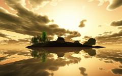 3D render tranquil island at sunset Stock Illustration