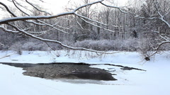 A winter creek with a small amount of open water - stock footage