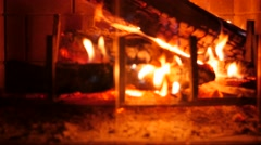 Dolly shot of a hot fire in a home fireplace Stock Footage
