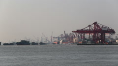 Busy Container Freighter Port - stock footage