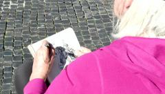 Artist Woman Painting Drawing Fountain Monument Piazza Navona Rome Italy Stock Footage