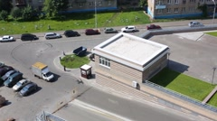 Top view of car parking and playground near residential building Stock Footage