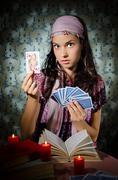 Fortune-teller predicing the cards Stock Photos