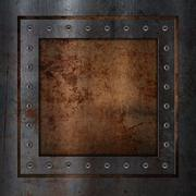 Scratched grunge rusty metal background - stock illustration